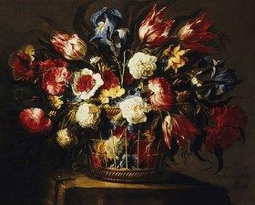 Juan de Arellano: Blumenstrauß in einem Korb