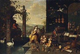 Jan van Kessel: Personifikation der Musik: eine junge Lautenspielerin auf einer Terrasse
