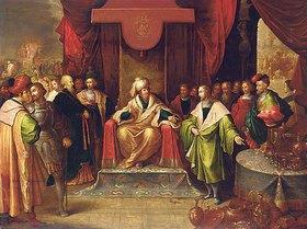 Frans Francken II.: Krösus und Solon. (Auf der Rückseite mit dem Wappenstempel der Stadt Antwerpen versehen.)