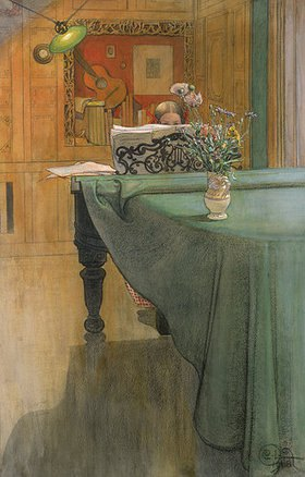 Carl Larsson: Junges Mädchen am Klavier