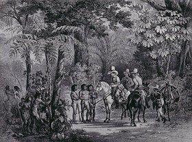 Johann Moritz Rugendas: Begegnung einer europäischen Reisegruppe mit im Wald lebenden Indianern. Aus: 'Malerische Reise in Brasilien'. Herausgegeben von Engelmann und Cie, Paris