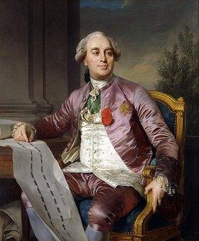 Joseph Siffred Duplessis: Bildnis von Charles-Claude de Flahaut de la Billarderie, Comte d'Angiviller (1730-1809), mit einem Ritterorden der hl. Mauritius und Lazarus und dem Orden Saint Louis, seine rechte Hand ruht auf dem Bauplan für den Louvre