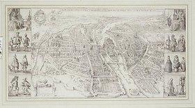 Unbekannt: Karte mit Paris aus der Vogelpersepktive: 'Le Plan De La Ville, Cite, Universiteet Fauxbourges De Paris'