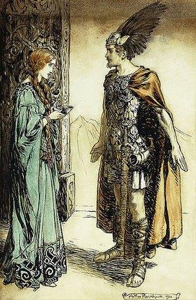 Arthur Rackham: Siegfried trifft Gutrune: Götterdämmerung