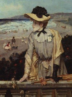 Alfred Stevens: Junge Frau am Strand (oder: Pariserin vor Meerlandschaft)
