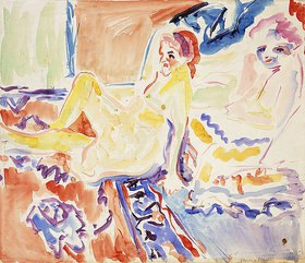 Ernst Ludwig Kirchner: Sitzende und Liegende (recto)
