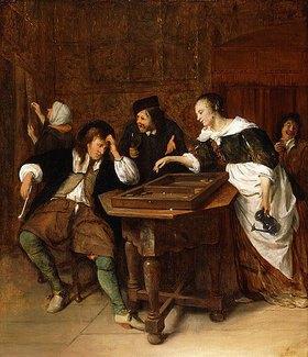 Jan Steen: Beim Backgammon Spiel