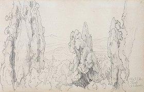 Friedrich Preller: Zypressen bei der Villa d'Este in Tivoli