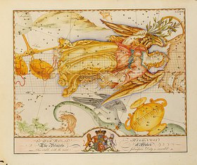 John Bevis: Uranographia oder Sternenatlas. Handkolorierte Karte