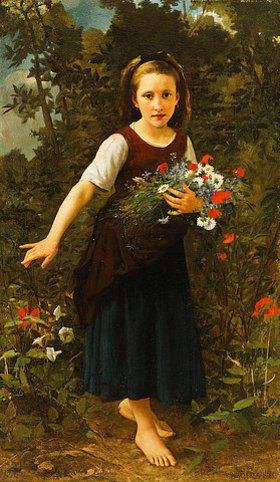 William Adolphe Bouguereau: Kleines Mädchen an einem Bach mit einem Blumenstrauß