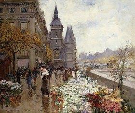 Georges Stein: Blumenmarkt an der Seine