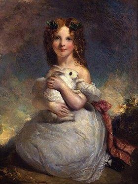 William Dyce: Porträt der Dora Louisa Grant ein Kaninchen haltend
