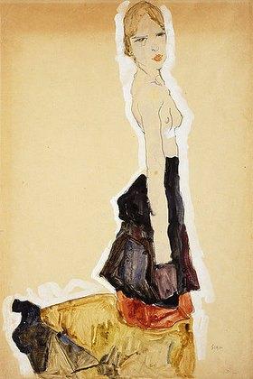 Egon Schiele: Kniendes Mädchen mit Spanischen Rock