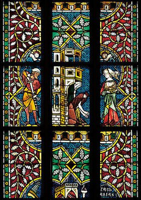 Menschwerdung Christi. Buntglasfenster im Chorumgang. Kurz vor 1330. Detail: Taufe Christi