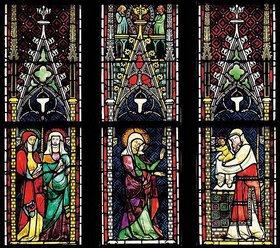Menschwerdung Christi. Buntglasfenster im Chorumgang. Kurz vor 1330. Detail: Darbringung im Tempel
