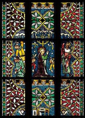 Johannes- und Katharinafenster. Buntglasfenster im Chorumgang des Klosters Königsfelden. Detail: Marter der heiligen Katharina