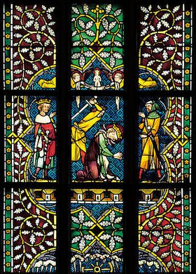 Johannes- und Katharinafenster. Buntglasfenster im Chorumgang des Klosters Königsfelden. Detail: Enthauptung der heiligen Katharina
