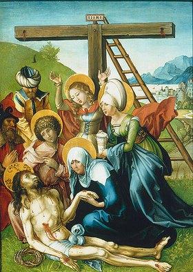 Albrecht Dürer: Tafel oben rechts des Altars 'Die sieben Schmerzen der Mariae' mit der Beweinung Christi