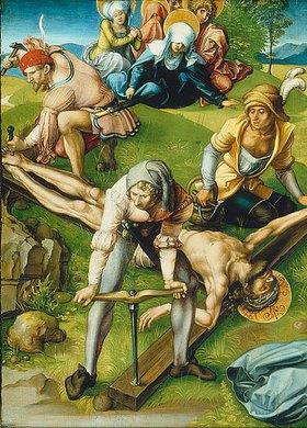 Albrecht Dürer: Altar: Die sieben Schmerzen der Mariae. Tafel oben links. Detail: Tafel unten rechts