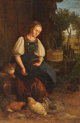 Hans Thoma: Hühnerfütterung