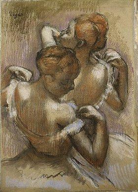 Edgar Degas: Zwei Tänzerinnen des Ensembles richten ihre Schulterträger. (Deux Danseuses à Mi-Corps, ajustant Leurs Epaulettes.)