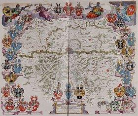 Joan Blaeu: Eine Karte mit Frankfurt am Main im Zentrum und dem Mainlauf zwischen Hanau und Kelsterbach. Aus dem Werk 'Le Grand Atlas Ou Cosmograph E Blaviane'. Herausgegeben in Amsterdam