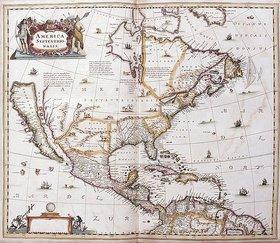 Johannes Janssonius: Karte von Nordamerika. Aus dem Werk 'Nouveau Theatre Du Monde Ou Nouvel Atlas Comprenant Les Tables Et Descriptions De Toutes Les Regions De La Terre'