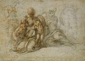Michelangelo: Die Begegnung der Kinder. Johannes der Täufer mit der Heiligen Familie, von Engeln begleitet