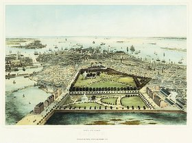 John Bachmann: Boston aus der Vogelperspektive. Gedruckt von Sarony und Major, New York. Veröffentlicht von Williams und Stevens, New York