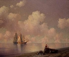 Iwan Konstantinovich Aiwassowskij: Küstenlandschaft mit Fischern und Segelschiffen