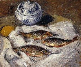 Gustave Loiseau: Stillleben mit Heringen und Suppenterrine