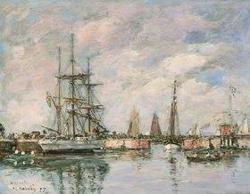 Eugène Boudin: Norwegisches Dreimastschiff im Hafen Deauville