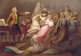Carl Joseph Geiger: Mozart gibt Regieanweisungen an eingebildete Darsteller der Opern 'Don Giovanni' und 'Die Zauberflöte'