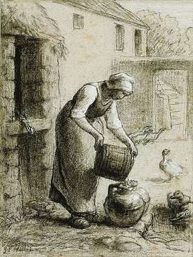 Jean-François Millet: Eine Frau gießt Wasser in Milchkannen (auch bekannt als Frau am Brunnen)