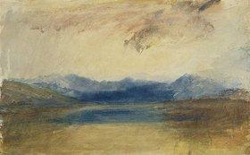 Joseph Mallord William Turner: Eine gebirge Landschaft mit einem See. / A Mountainous Landscape with a Lake. Ca. 1820er Jahre