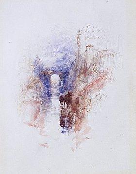 Joseph Mallord William Turner: An Italian Castle above a River. / Eine italienische Burg oberhalb eines Flusses
