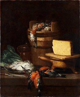 Philips Angel: Stillleben mit Butterfaß, Käse und Vögeln. 17. Jh