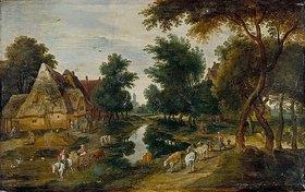 Jan Brueghel d.J.: Dorfstrasse mit Teich (Sommer)