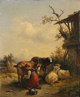 Friedrich Gauermann: Ziegenmelkerin. Nach