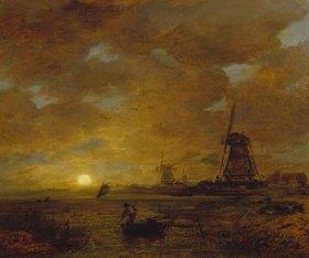 Andreas Achenbach: Abendliche holländische Küstenlandschaft mit Windmühlen