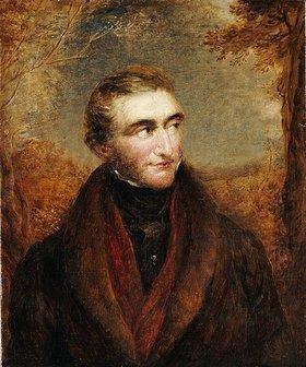 John Linnell: Bildnis des Malers John William Turner. In einem braunen Mantel und in einer Landschaft stehend