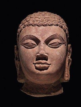 Indisch: Kopf einer Jina. Mathura, Uttar Pradesh, Indien. Gupta Dynastie, Mitte 5. Jahrhundert