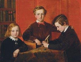 John Edgar Williams: Die jungen Mikroskopisten. Porträt von Frank, Harry und Arthur Izod Richards im Alter von 10, 8 und 5 Jahren, mit einem Mikroskop spielend