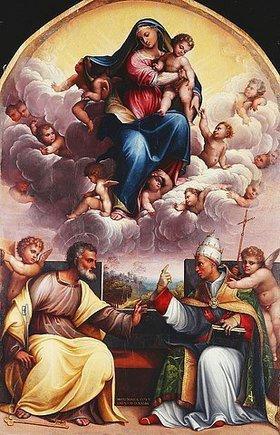 Girolamo Marchesi: Madonna mit dem Kind in der Glorie. Mit Engeln und den Heiligen Simon Petrus und Gregor dem Großen im Disput