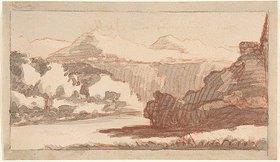 Johann Wolfgang von Goethe: Gebirgslandschaft mit einem Fluß im Vordergrund