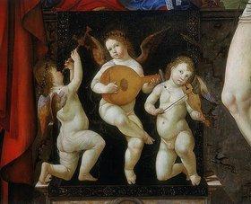 Francesco Bianchi-Ferrari: Drei musizierende Engel. Detail des Altargemäldes der thronenden Madonna mit dem Heiligen Hieronymus und dem Heiligen Sebastian
