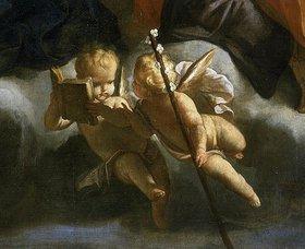 Giuseppe (Lo Spagnuolo) Crespi: Zwei Putten. Detail des Gemäldes der Heiligen Familie