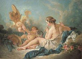 François Boucher: Eine Flöte spielende Nymphe mit Putten. Vermutlich die Muse Euterpe