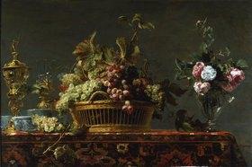 Frans Snyders: Stilleben mit Korb mit Weintrauben und einer Rosenvase