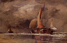 Edward William Cooke: Segelschiff bei Ebbe an einem holländischen Strand